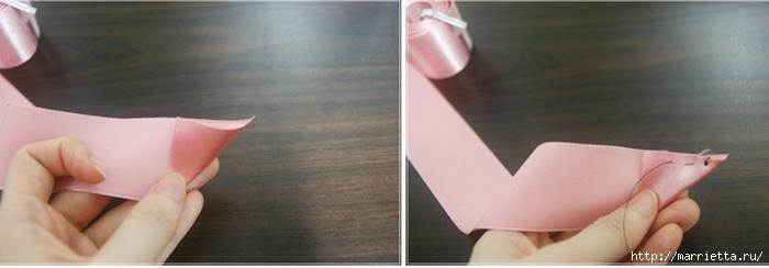 Эффектный бантик с розочкой из атласной ленты. Фото мастер-класс (2) (700x244, 100Kb)