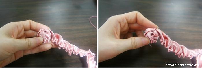 Эффектный бантик с розочкой из атласной ленты. Фото мастер-класс (12) (700x238, 103Kb)