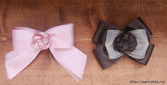 Эффектный бантик с розочкой из атласной ленты. Фото мастер-класс (14) (564x288, 96Kb)