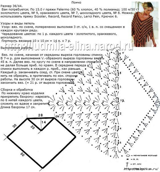 Схема вязания пончо крючком с описанием 12