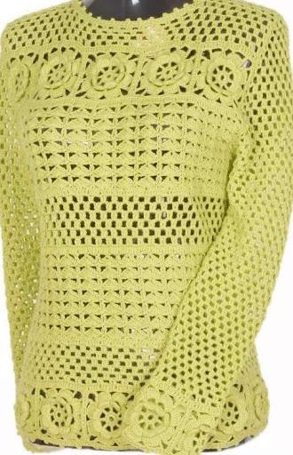 croche file blusa verde com flor (330x512, 188Kb)