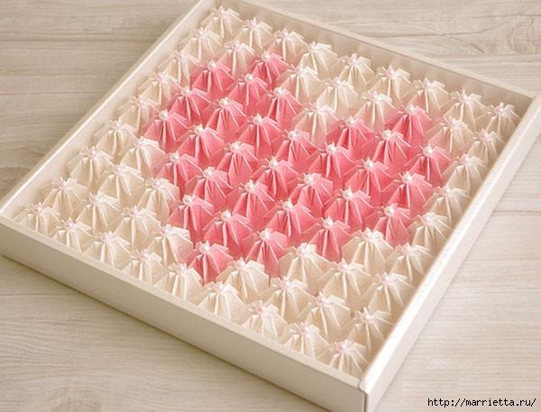 Коробка шоколадок в подарок. Обертка-оригами для конфет  (11) (600x457, 165Kb)