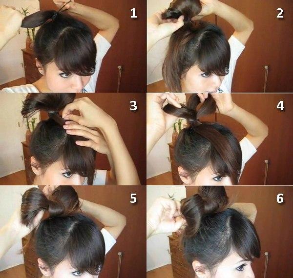 прически бантиком на средние волосы