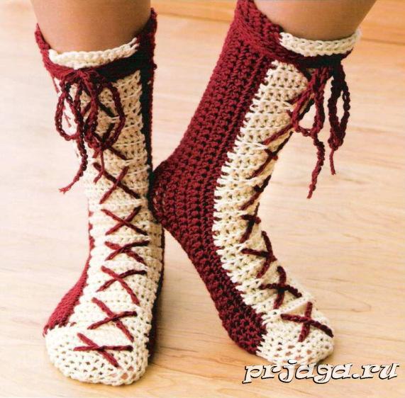 Вязание носков крючком для