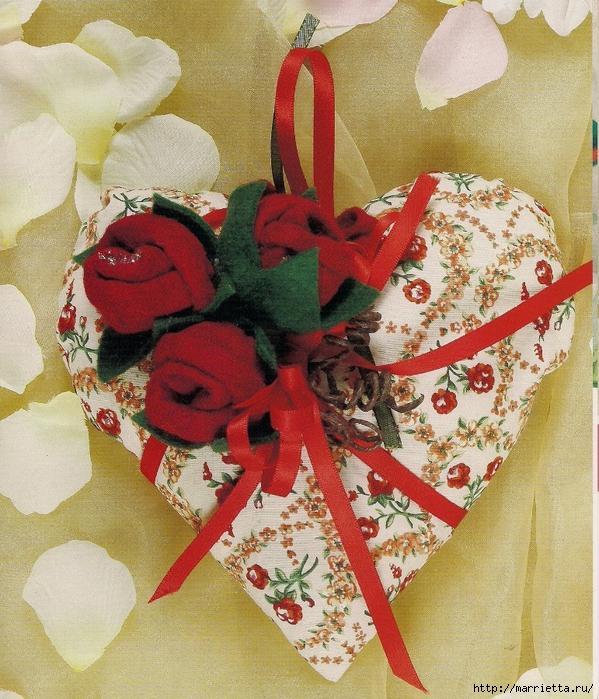 Валентинка с розочками из фетра. Шаблон сердца и мастер-класс (1) (599x700, 423Kb)
