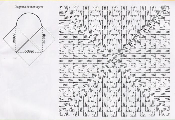 себе: плотный квадрат крючком схема русские народные