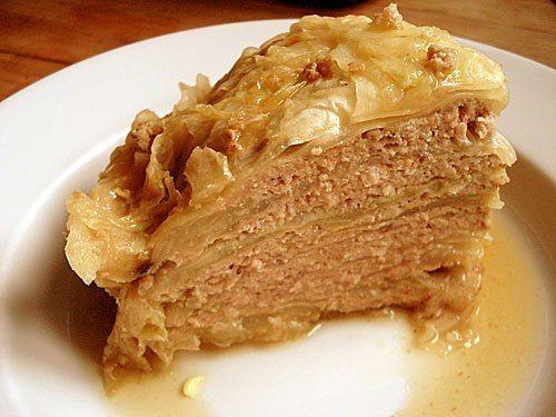 Капустный пирог с мясной начинкой