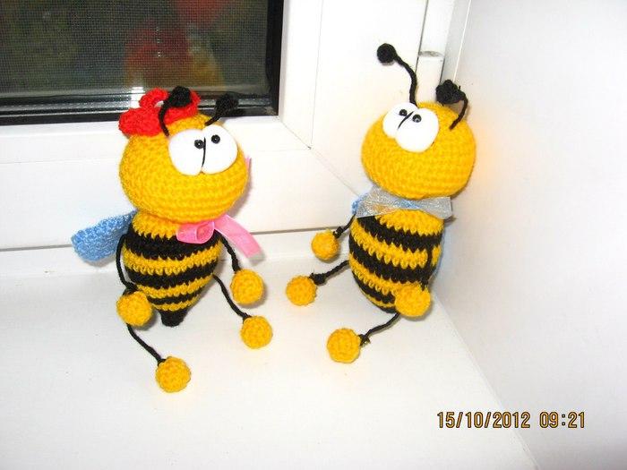Вязание пчелок крючком