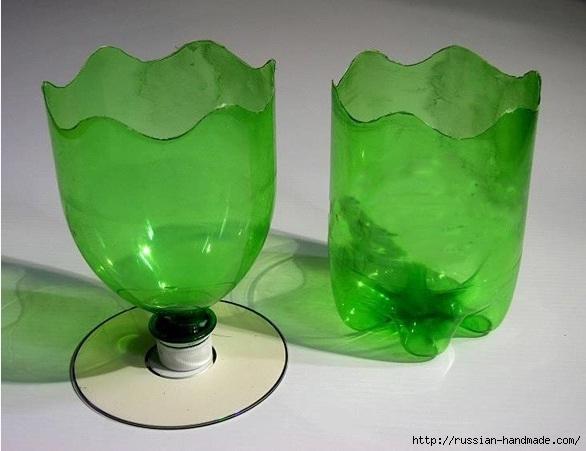 Вазочки из CD дисков и пластиковых бутылок (3) (586x451, 129Kb)