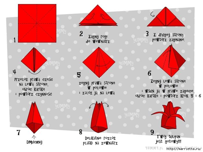 Как из бумаги делать тюльпаны из бумаги