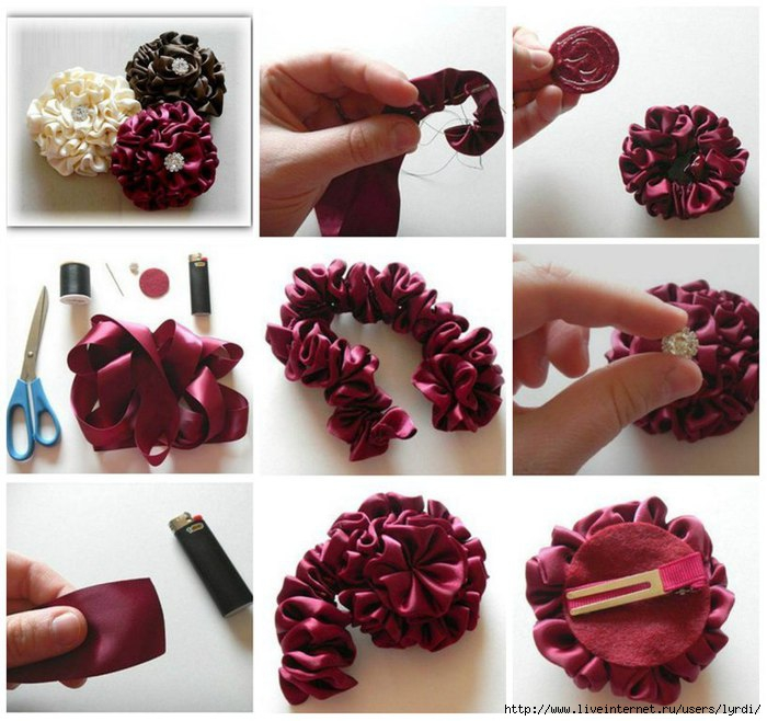 Как сделать красивые заколки из атласных лент своими руками