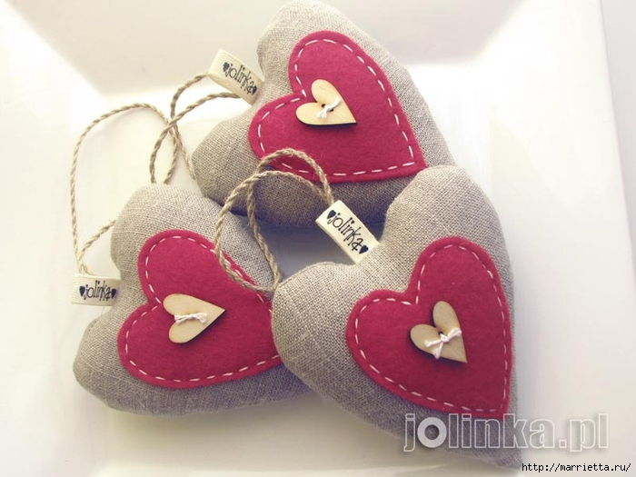 Текстильные сердечки. Большая коллекция очень красивых валентинок (17) (700x525, 209Kb)