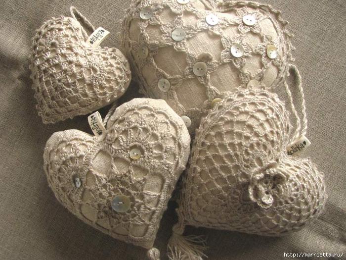 Текстильные сердечки. Большая коллекция очень красивых валентинок (29) (700x525, 333Kb)