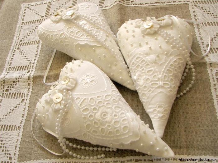 Текстильные сердечки. Большая коллекция очень красивых валентинок (52) (700x525, 312Kb)