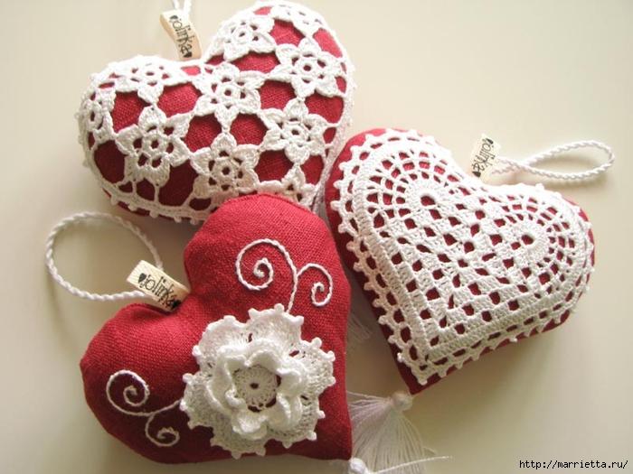 Текстильные сердечки. Большая коллекция очень красивых валентинок (54) (700x525, 247Kb)