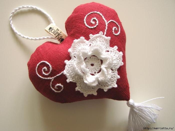 Текстильные сердечки. Большая коллекция очень красивых валентинок (55) (700x525, 179Kb)