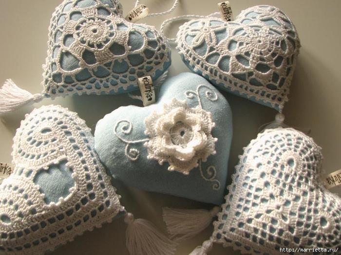 Текстильные сердечки. Большая коллекция очень красивых валентинок (64) (700x525, 295Kb)