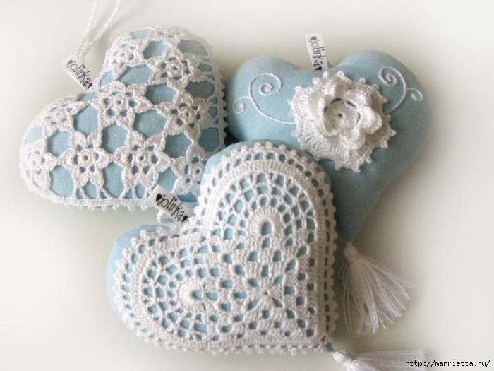 Текстильные сердечки. Большая коллекция очень красивых валентинок (72) (700x525, 215Kb)
