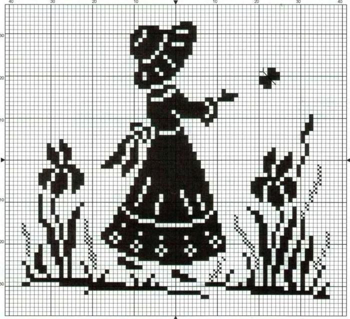 Схема вышивки крестом в черно белом цвете 86