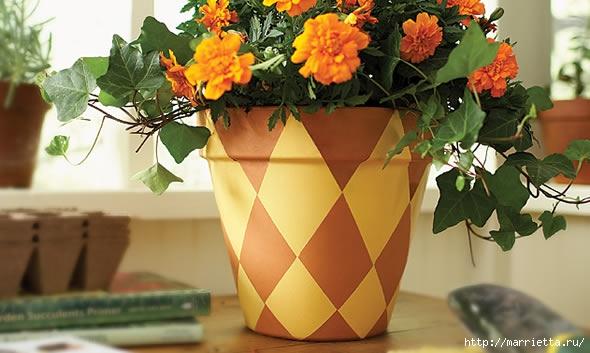 Шахматный декор глиняного горшка для цветов. Мастер-класс (2) (590x353, 134Kb)