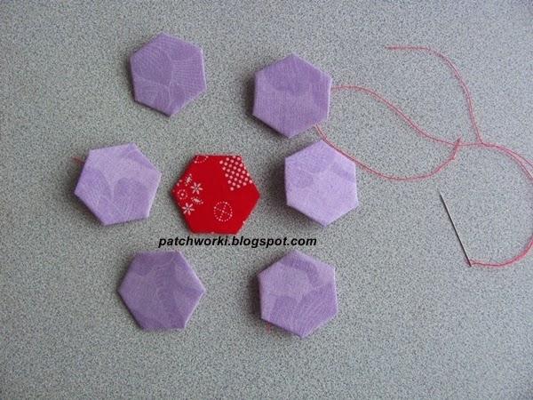 Пэчворк. Создание и сшивание шестиугольников для пледа. Мастер-класс (34) (600x450, 275Kb)