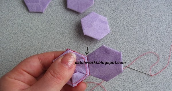 Пэчворк. Создание и сшивание шестиугольников для пледа. Мастер-класс (38) (600x319, 170Kb)