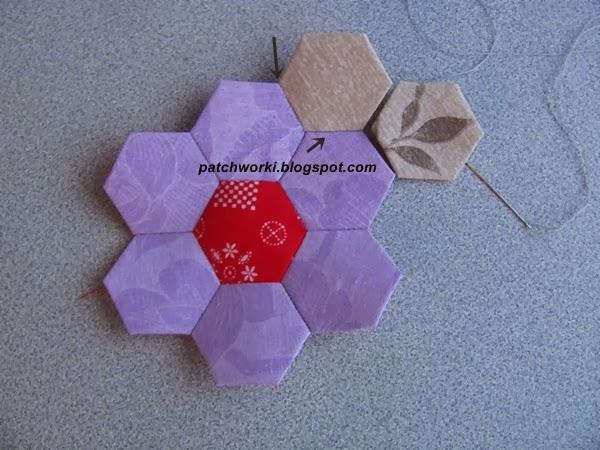 Пэчворк. Создание и сшивание шестиугольников для пледа. Мастер-класс (46) (600x450, 228Kb)