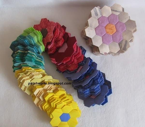 Пэчворк. Создание и сшивание шестиугольников для пледа. Мастер-класс (54) (600x526, 228Kb)