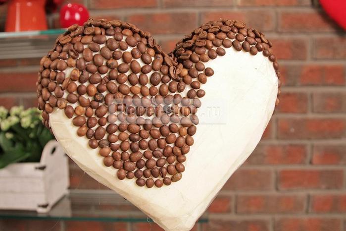 Кофейный топиарий в форме сердца своими руками