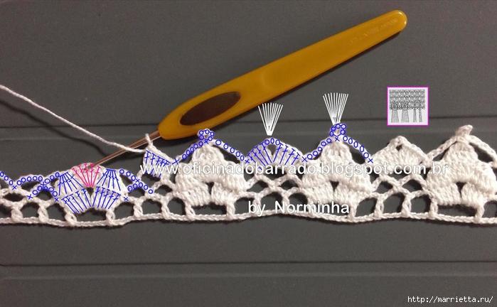 Обвязка крючком для полотенца. Схемы (8) (700x432, 218Kb)
