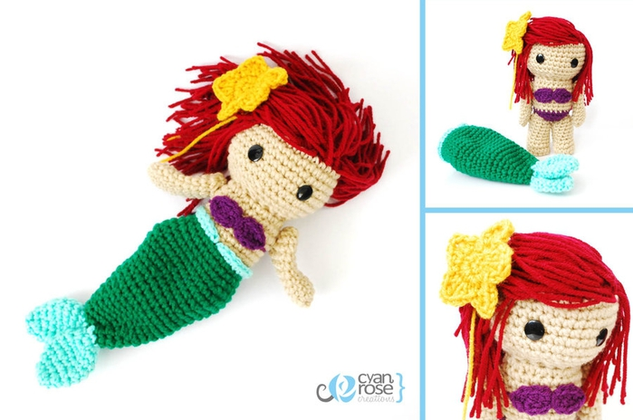 ariel__the_little_mermaid___crochet_amigurumi_doll_by_cyanrosecreations-d51k2fe (700x464, 169Kb)