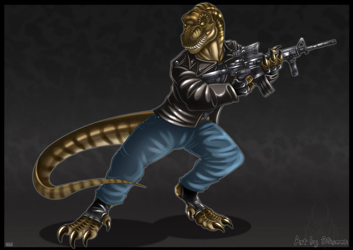 anthro_t_rex___commission_by_drakainaqueen-d39xt2w (700x495, 173Kb)