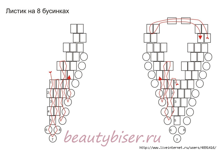 Схема по плетению листиков из бисера