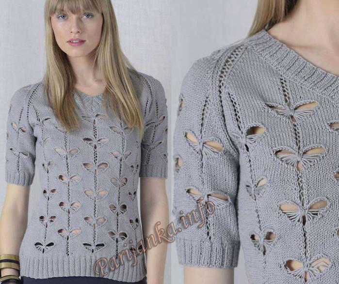 Вяжем свитер с бабочками
