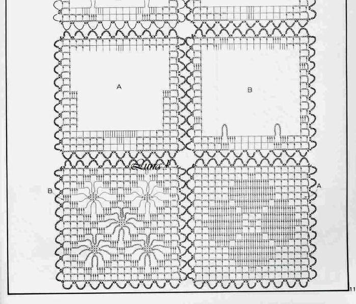 Филейное вязание в стиле пэчворка 582