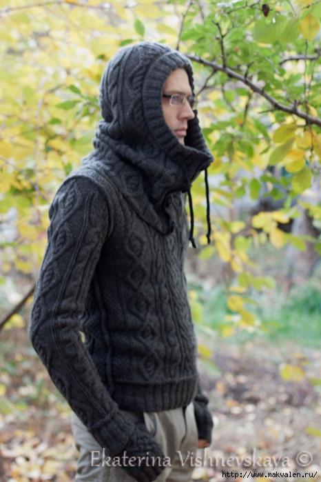 Вязание спицами капюшон мужской ко 300