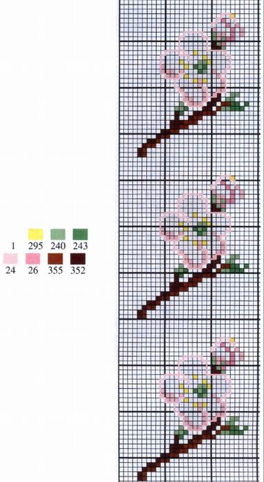 Цветочная вышивка крестом. Схемы (1) (382x700, 336Kb)