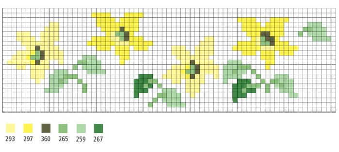 Цветочная вышивка крестом. Схемы (3) (700x313, 124Kb)