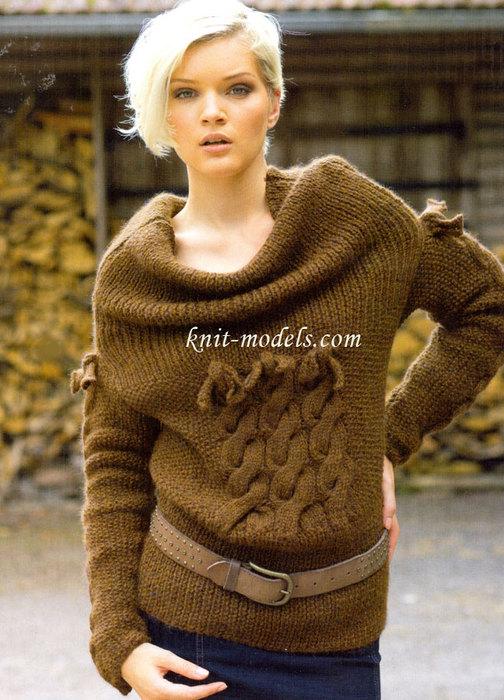 Оригинальный вязаный пуловер1 (504x700, 116Kb)