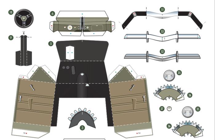 Кабриолет Ford из бумаги. Готовые шаблоны для распечатки (1) (700x457, 171Kb)