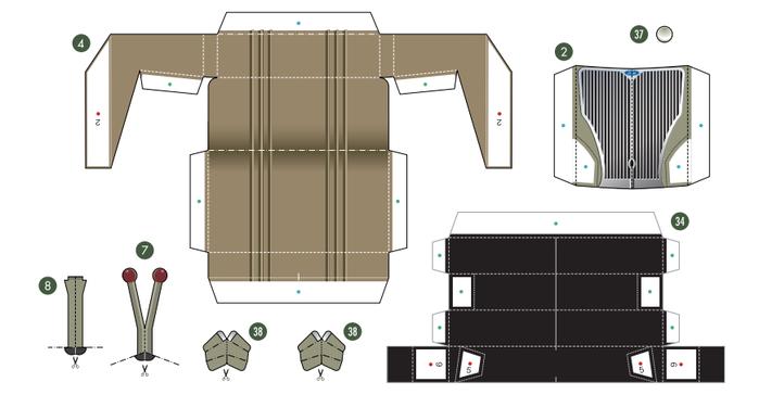 Кабриолет Ford из бумаги. Готовые шаблоны для распечатки (2) (700x387, 96Kb)