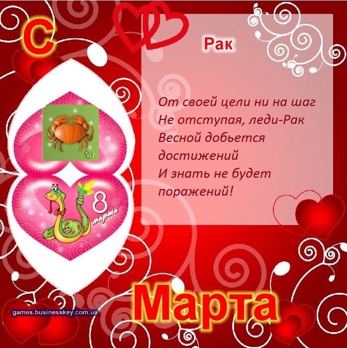 Поздравительные открытки на 8 марта по знакам зодиака 3 (698x699, 535Kb)