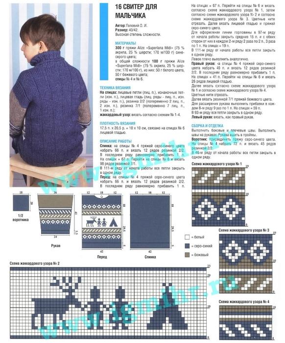 Вязанные свитера для мальчиков с описанием и схемой