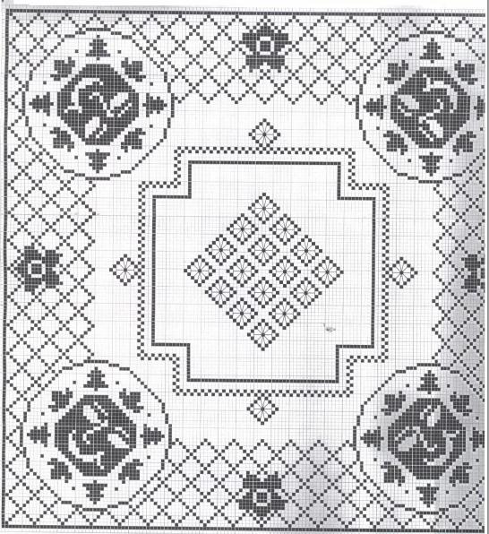 Вязание крючком. Скатерти и бабочки для украшения. Схемы (3) (546x596, 491Kb)