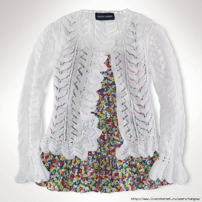 针织:拉尔夫 · 劳伦的白色相思女孩羊毛衫(门襟不同) - maomao - 我随心动