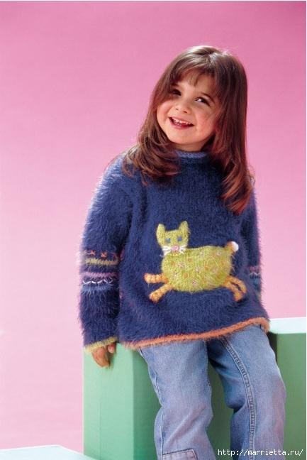 Вязание для детей. Свитерок для девочки с аппликацией кошечки (1) (433x648, 150Kb)