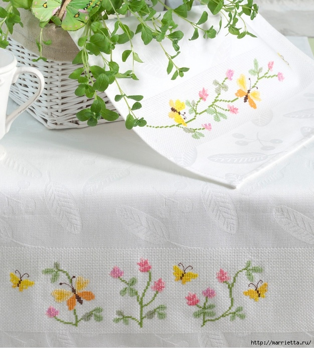 нежная вышивка для скатерти и салфеток (3) (626x695, 294Kb)