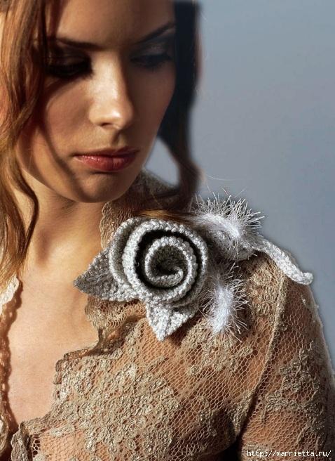 Вязание спицами. Роза для украшения одежды (478x656, 239Kb)