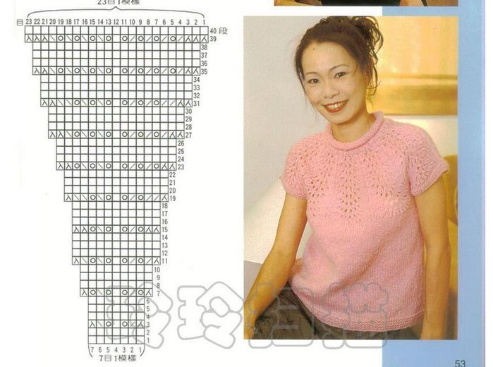 Вязание спицами сверху с кокеткой по кругу кофточки для женщин 27