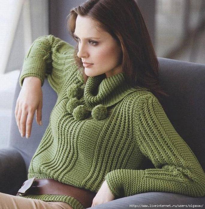 Вязание на спицах для девушек свитеров 7